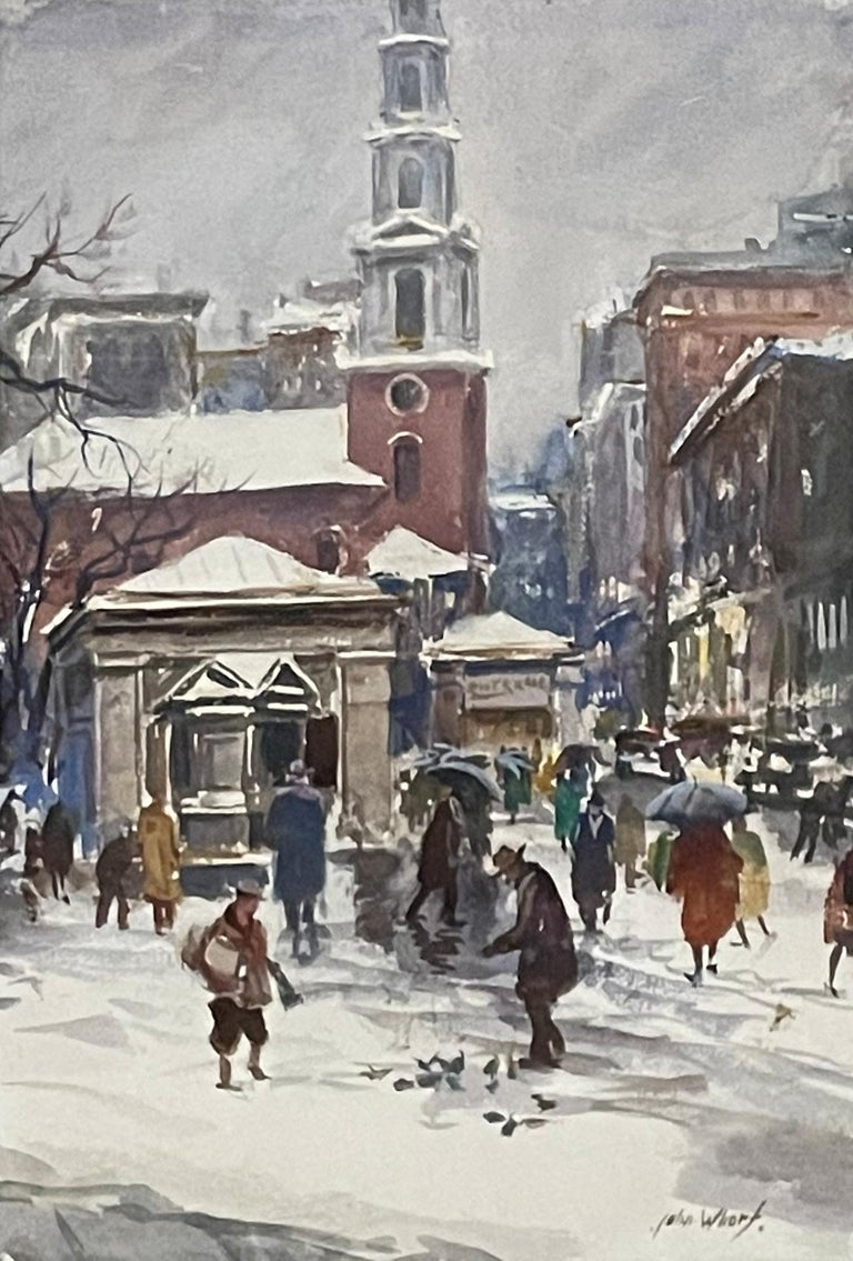"""Park Street Church, Boston,"" John Whorf, American Watercolorist Urban Cityscape - Painting by John Whorf"