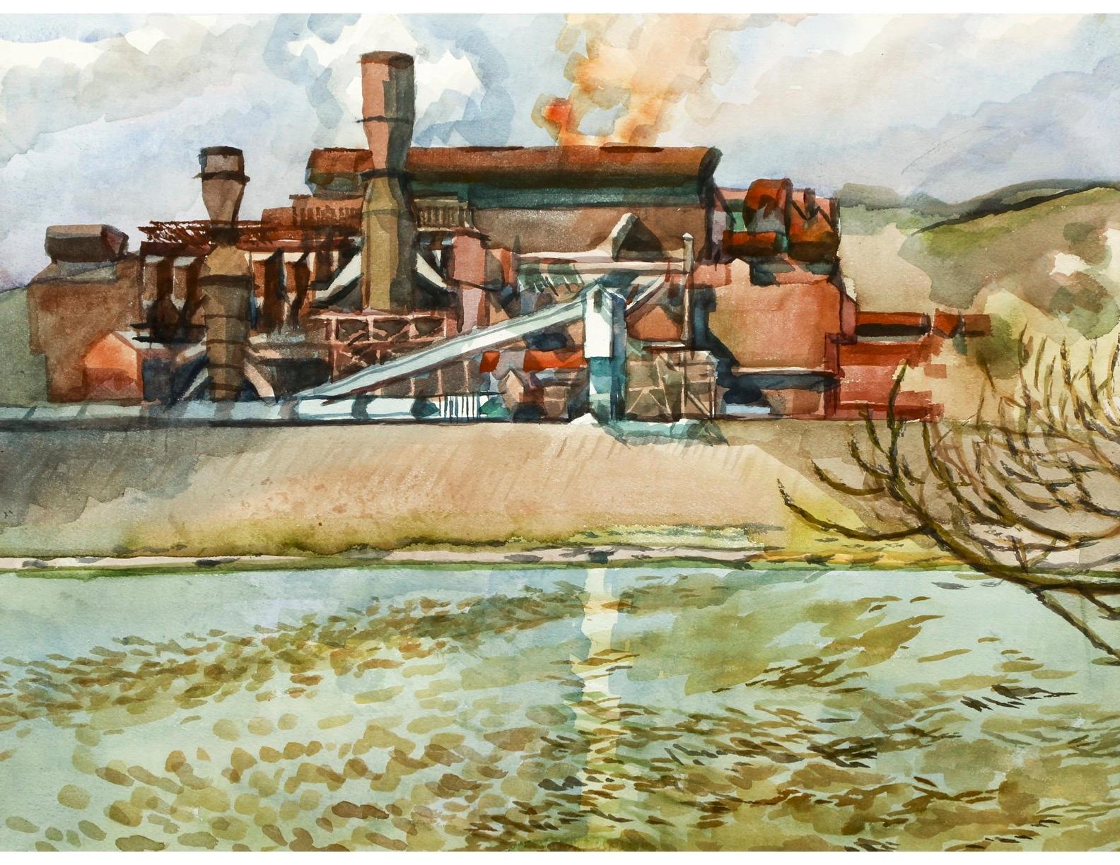 """J&L Oxygen Plant"" Industrial Landscape  Scene Contemporary Watercolor Drawing"