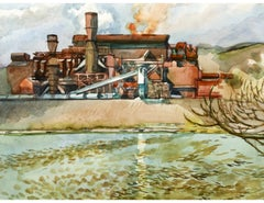 """J&L Oxygen Plant"" Industrial Landscape  Scene Contemporary Watercolor Drawing"