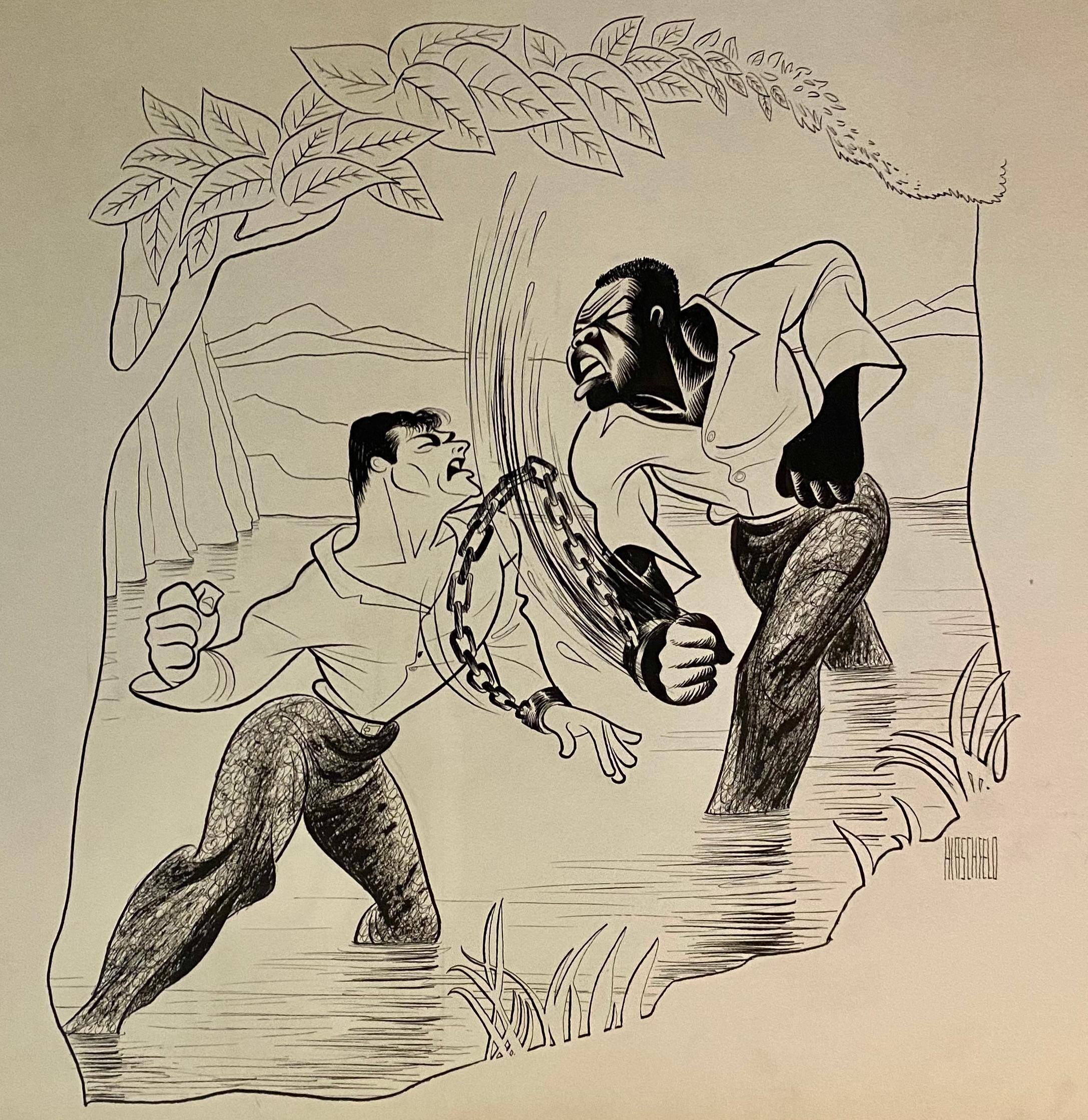 """The Defiant Ones"" Tony Curtis Sidney Poitier Oscar Winning 1958 film Caricature"