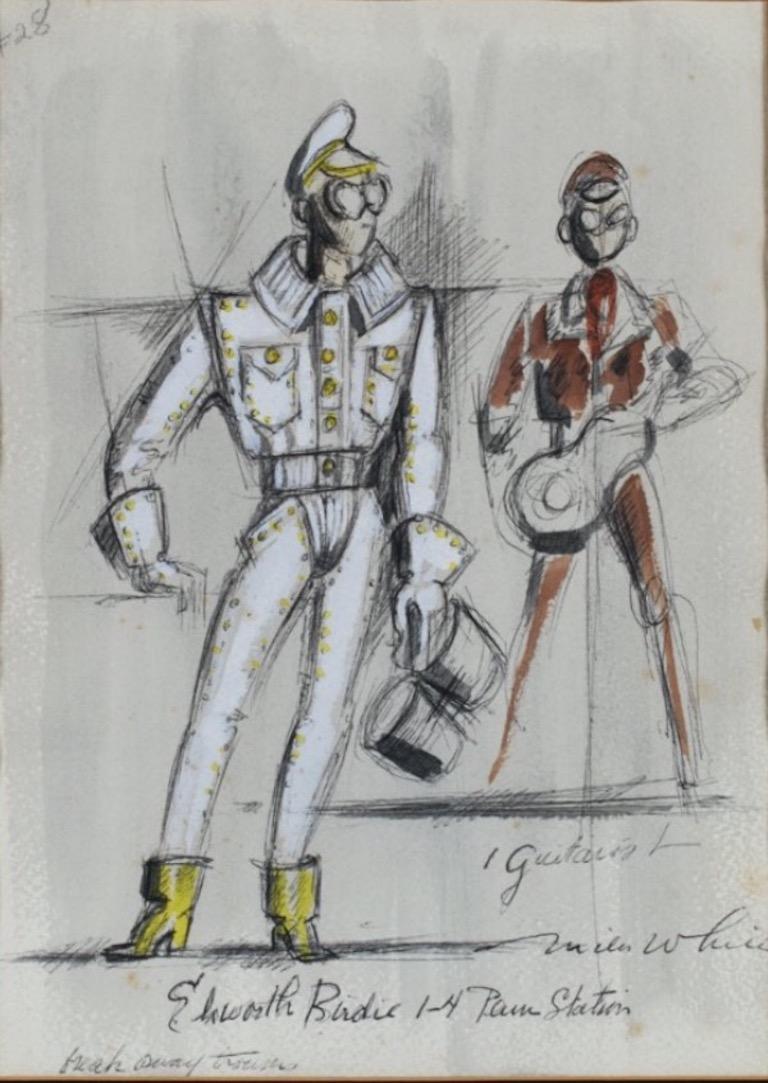 """""""Bye Bye Birdie"""" Original 1960 Broadway Musical Costume Drawing Tony Award Elvis"""