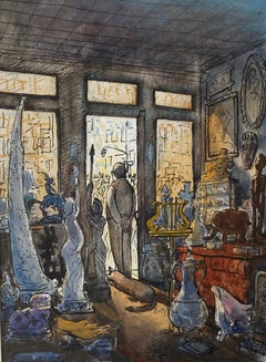 "New Yorker Illustration Mid-Century Modern Realism American Scene ""Antique Shop"""