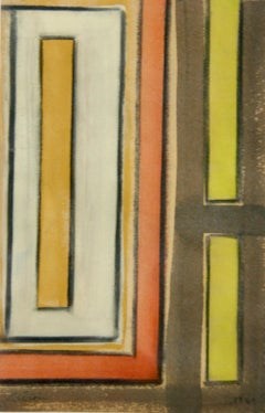 Abstract Work on Paper Mid-Century Modernism Greek American Gouache Drawing