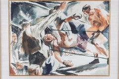 """""""The Knockout"""" Boxing Sports American Watercolor WPA Mid-Century Modern 30s/40s"""