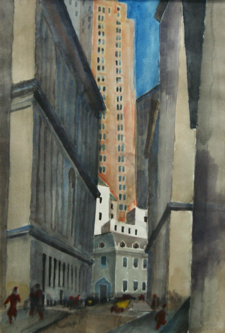 "Bertram Hartman Landscape Art - ""Exchange Place"" American Scene WPA Modern Watercolor Financial District NYC"
