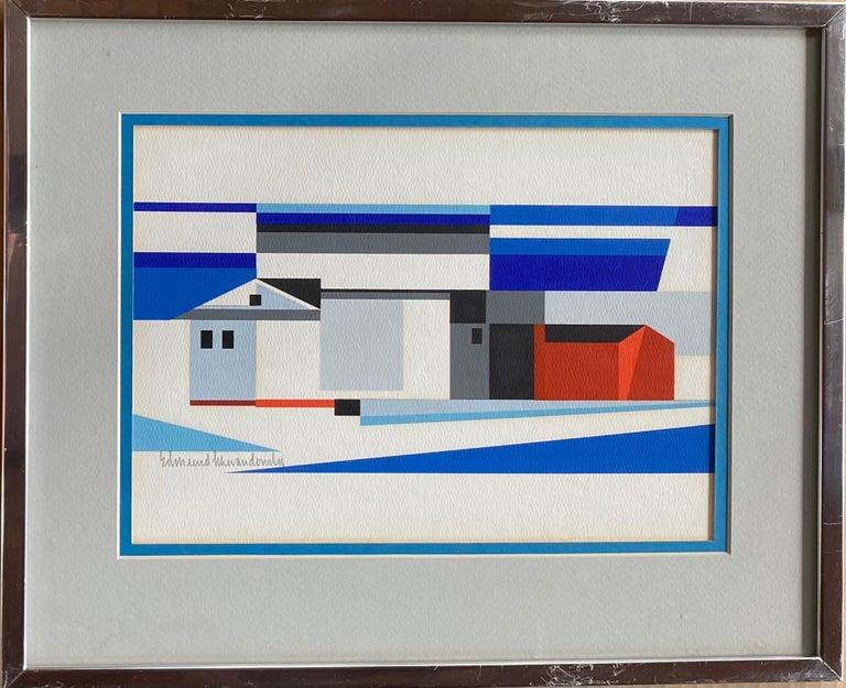 Landscape w/ Barn Abstract Mid-Century Precisionist Gouache Paper Contemporary - American Modern Art by Edmund Lewandowski