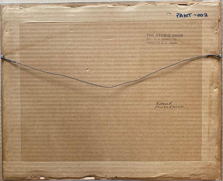 Landscape w/ Barn Abstract Mid-Century Precisionist Gouache Paper Contemporary - Art by Edmund Lewandowski