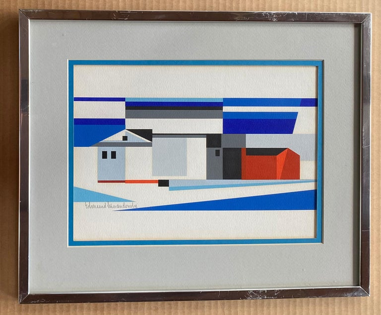 Landscape w/ Barn Abstract Mid-Century Precisionist Gouache Paper Contemporary - Gray Abstract Drawing by Edmund Lewandowski