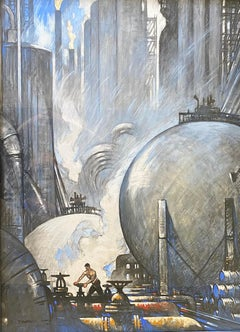 Large Industrial Landscape Mid-Century National Geographic WPA Realism Drawing