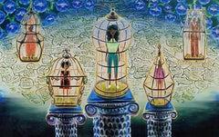 """""""Women on Pedestals"""" Oil on Canvas"""