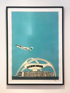 """Teal Airplane & LAX"" Original Acrylic & Ink Paper Framed"