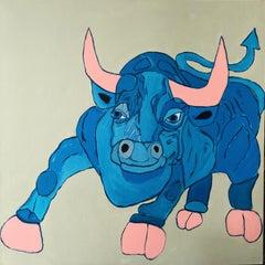 """""""Azul The Bull""""-Acrylic Painting on Canvas"""