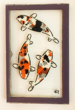 """""""3 Koi on Window in Purple Frame""""-Spray Paint on Glass in Wooden Frame"""
