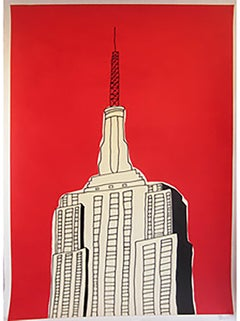 """""""Red Empire State Bldg""""-Original Acrylic & Ink on Paper"""