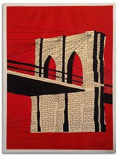 """Red Brooklyn Bridge""-Original Acrylic & Ink on Paper"
