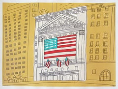 """NYC Stock Exchange""-Acrylic & Ink on Paper Framed"