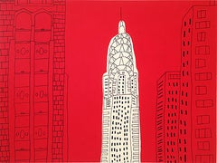 """""""Red Chrysler Building""""-Original Acrylic & Ink on Paper"""
