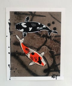 """""""Dual City""""-Limited Edition Hand Stenciled Koi Giclee Prints"""