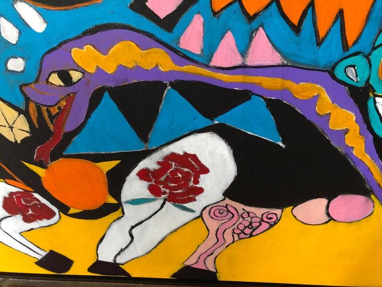 Melinda McLeod - Azul The Bull-Acrylic Painting on