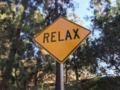 """Relax"" - Contemporary Street Sign Sculpture"