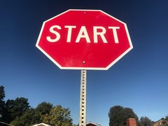 """Start"" - Contemporary Street Sign Sculpture"