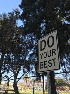 """Do Your Best"" - Contemporary Street Sign Sculpture"