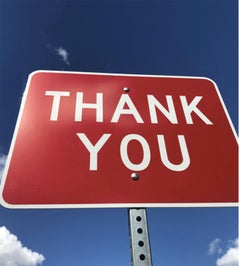 """Thank You"" Contemporary Street Sign Sculpture"