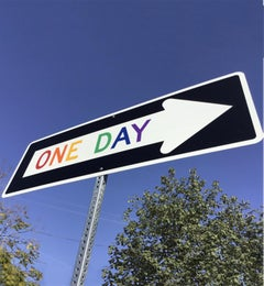 """One Day Rainbow"" - Contemporary Street Sign Sculpture"