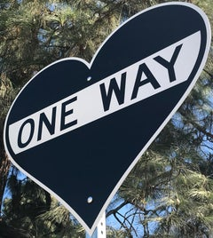 """One Way - Heart""  - Contemporary Street Sign Sculpture"