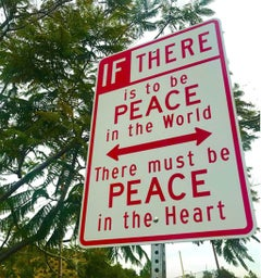 """Peace"" - Contemporary Street Sign Sculpture"
