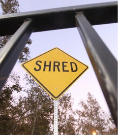 """Shred"" - Contemporary Street Sign Sculpture"