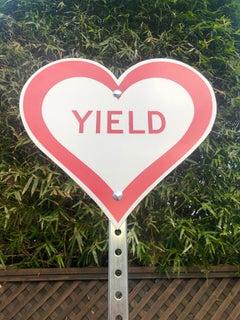 """Yield Heart"" - Contemporary Street Sign Sculpture"