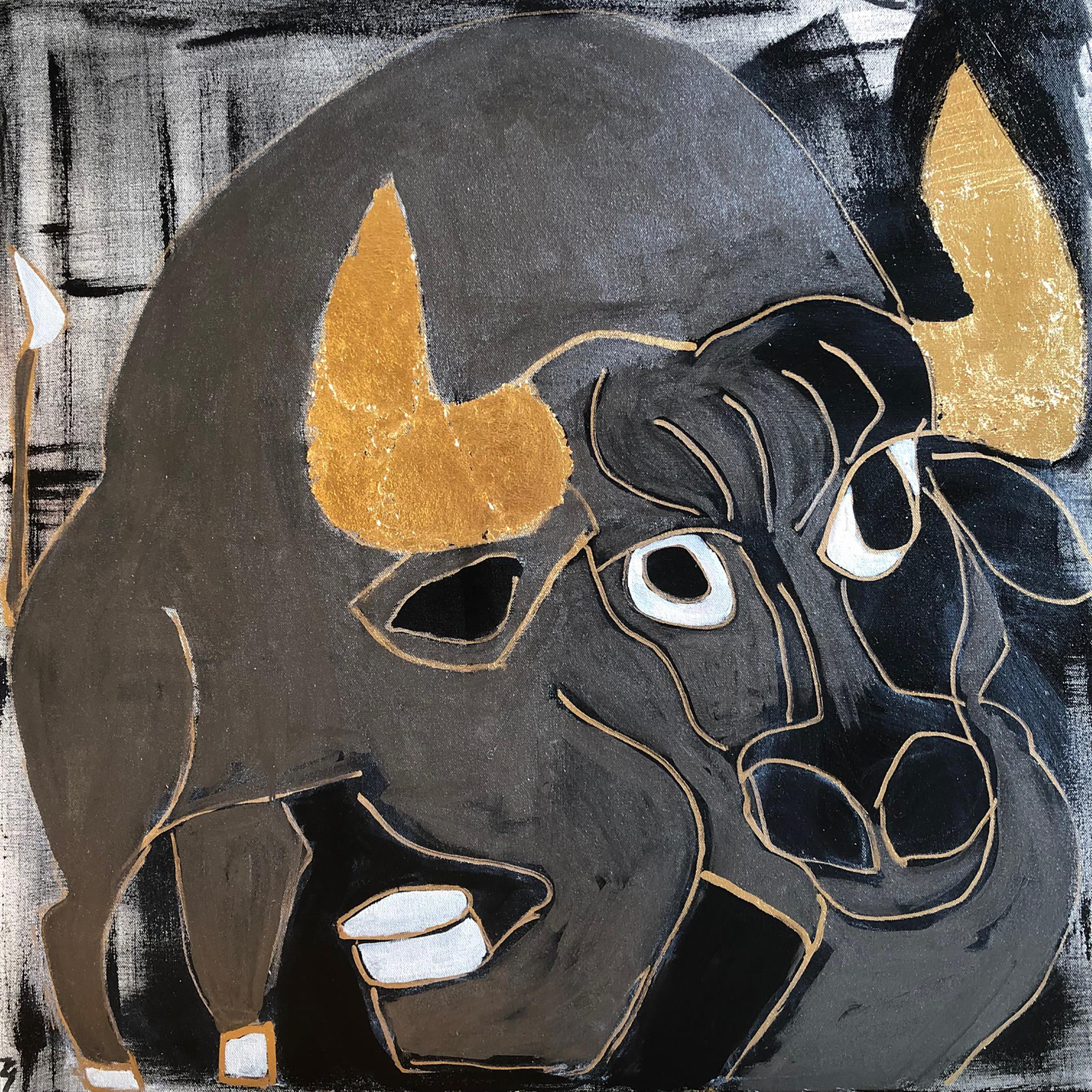 """""""Platino the Bull"""" - Acrylic on Canvas with Gold Leaf"""