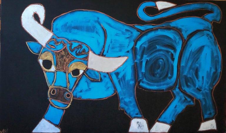 "Melinda McLeod  Animal Painting - ""Romeo the Bull"""