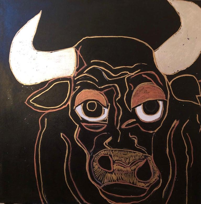 "Melinda McLeod  Animal Painting - ""Santiago the Bull"""