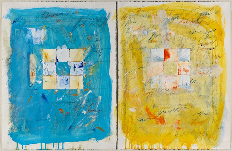 """Trevor Norris Abstract Painting - """"Domestic Recipe #6"""" Diptych Abstract Contemporary Art, Collage on paper, framed"""