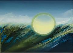 """Teahupo'o"" Abstract Contemporary Art, Oil on Synthetic Canvas"