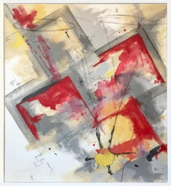 """Dress for Revolution"" Contemporary Abstract Acrylics Graphite Frame"