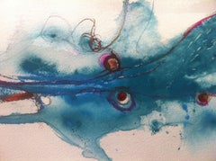 """""""Kneeling Before the Sea """" water color on paper, framed."""