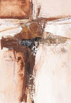 """""""Quencia: Brown"""" abstract art, oil on paper, framed."""