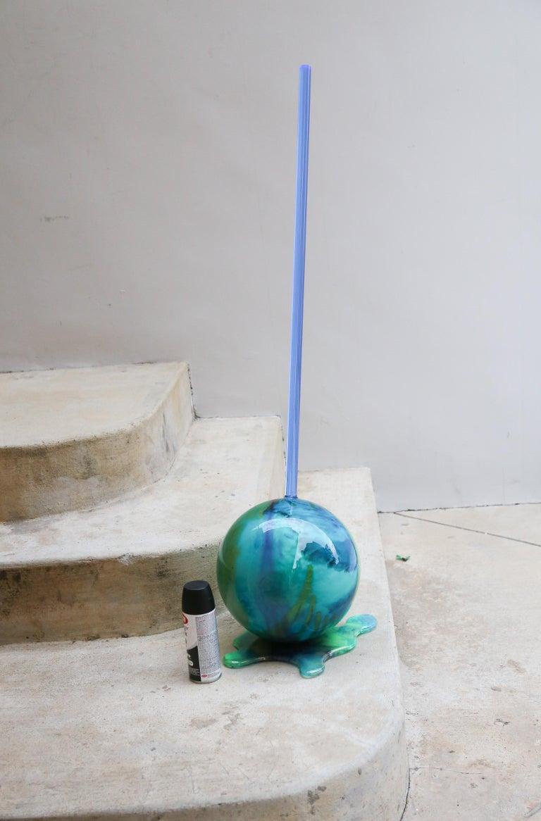 Betsy Enzensberger Still-Life Sculpture - Blue Globe Lollipop - Original Resin Sculpture
