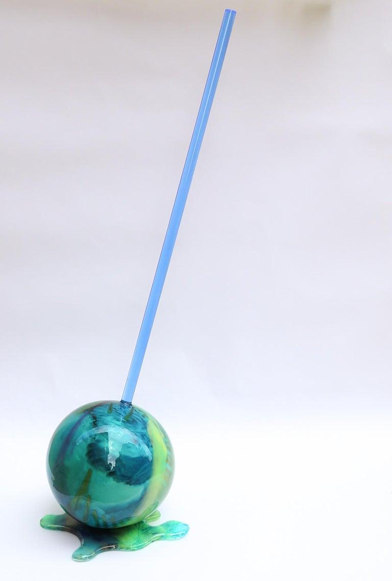 Blue Globe Lollipop - Original Resin Sculpture  - Gray Still-Life Sculpture by Betsy Enzensberger