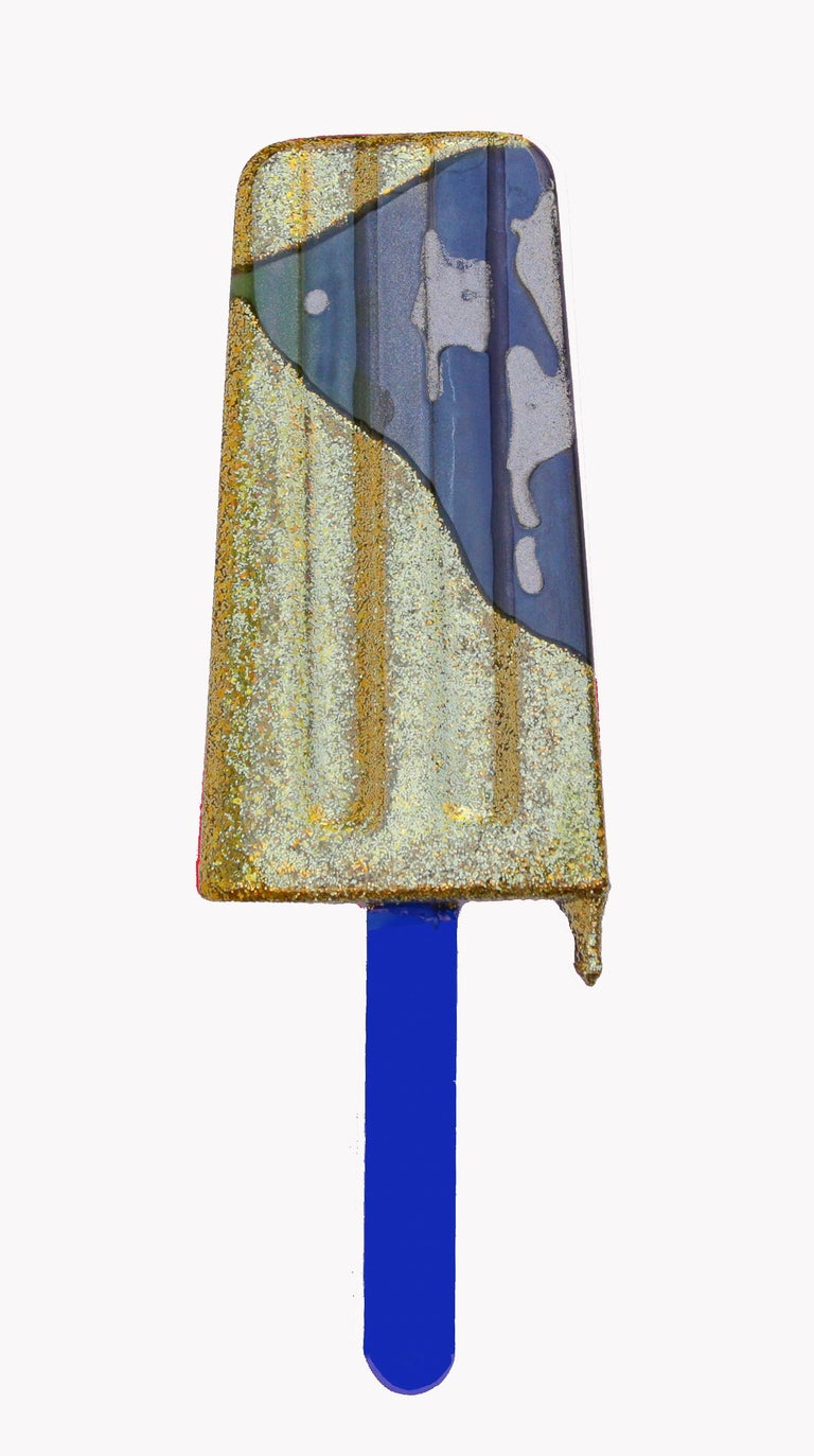 Blue & Gold Wall Popsicle - Original Resin Sculpture  For Sale 1