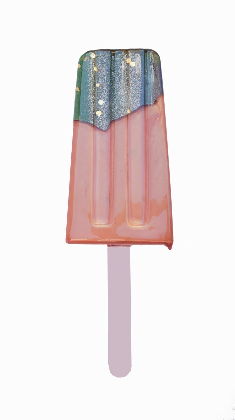 Rose Gold Wall Popsicle - Original Resin Sculpture For Sale 1