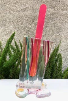 Splatter Clear Popsicle - Original Resin Sculpture