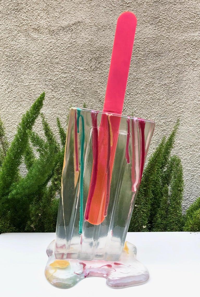 Betsy Enzensberger Still-Life Sculpture - Splatter Clear Popsicle - Original Resin Sculpture