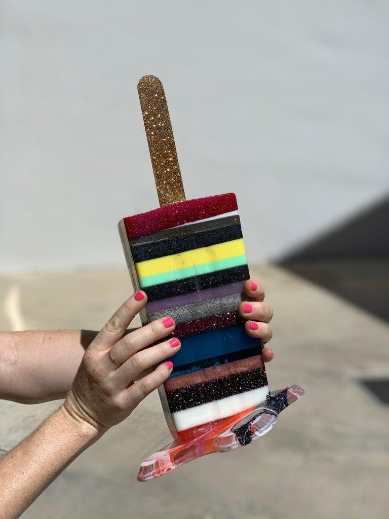 Winter Stripes Popsicle - Original Resin Sculpture For Sale 2