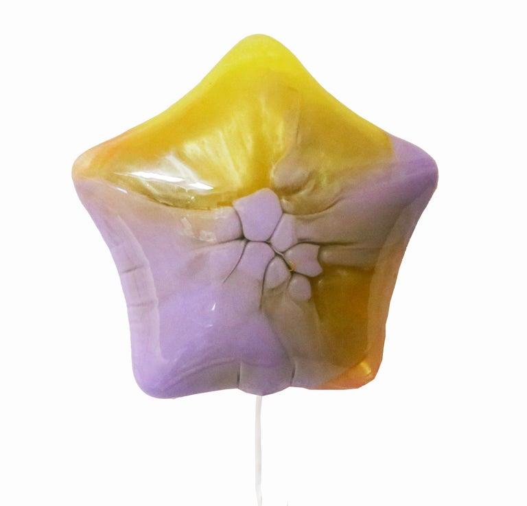 Betsy Enzensberger Still-Life Sculpture - Yellow Pearl & Lilac Balloon - Original Resin Sculpture