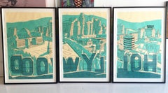 """""""Hollywood Triptych""""- Acrylic & Ink on Paper Framed"""