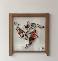 """""""3 Koi: 3 Stages of life"""" Spray paint on wood frame"""